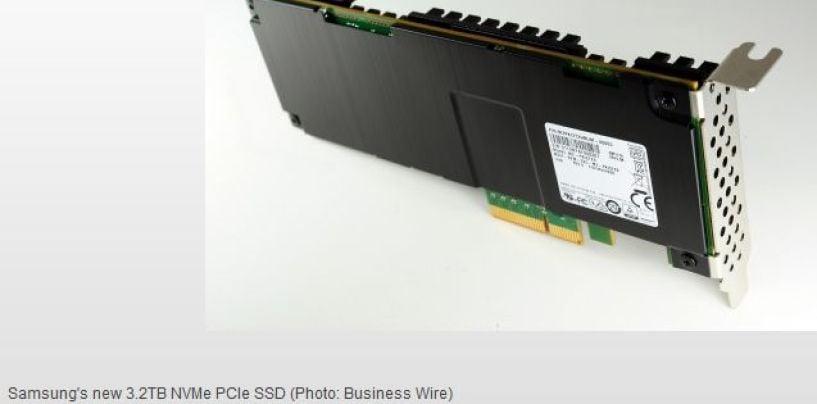 Samsung starts prodcing 3.2-terabyte NVMe SSD based on 3D V-NAND for next-generation enterprise severs