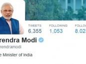 PM Narendra Modi has now more than 8 million followers on Twitter