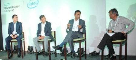 The Panelists (From L to R): Cyrus Daruwala—MD, IDC Financial Insights, Mahendra Pratap-CTO, RoI Solutions, Vikram K-Director, HPE Servers, and Pradeep Gupta-MD, CyberMedia