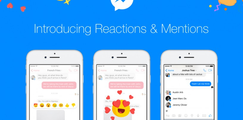 Facebook integrates reactions and @mentions into Messenger
