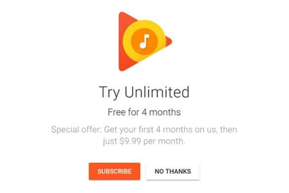 CIOL Google Play Music is offering free four-month trial subscription to US users