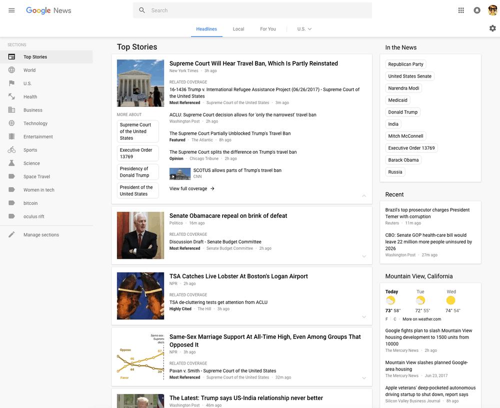 Google redesigned look