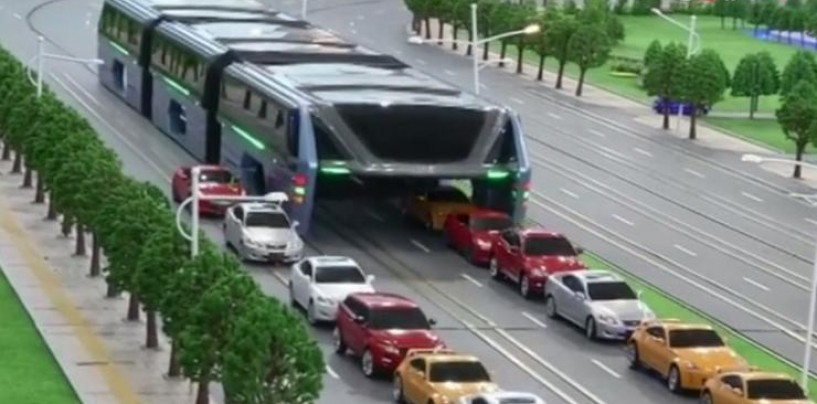 China's elevated bus seen straddling over traffic was probably a scam