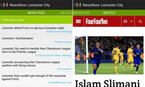 Newsnow filters all the information related to your favourite football club