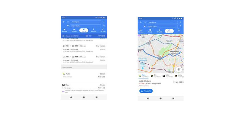 Google Maps now supports auto rickshaws for public transport users in Delhi