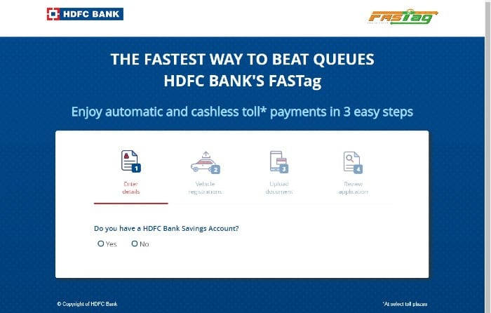 Buy FASTag from HDFC Bank