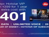 Jio will offer Disney+Hotstar VIP for free to new and existing user on recharge of these packs